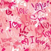 Seamless Pattern With Brush Strokes And Scribbles In Heart Shapes And Words Love, I Love You - Valen