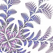 Fabulous Asymmetrical Pattern Of The Leaves On White Background.