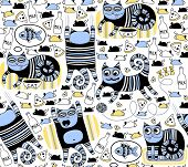 Funny cats seamless background