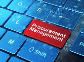 Business concept: Procurement Management on computer keyboard background