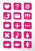 Pink vector icons set