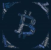 Bitcoin Logo Word Cloud With Blue Wordings