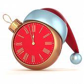 Happy New Year Christmas ball alarm clock bauble ornament decoration Santa hat icon