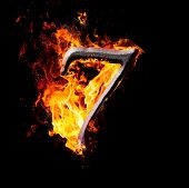 Numbers And Symbols On Fire - 7