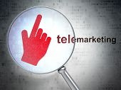 Advertising concept: Mouse Cursor and Telemarketing with optical glass