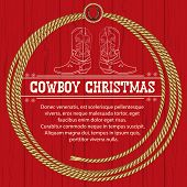 American Red Christmas Background With Cowboy Boots And Rope.