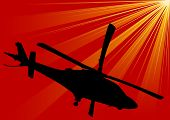 Helicopter On Red Sky