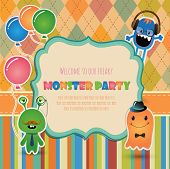 Vector Hipster monster party invitation card design.