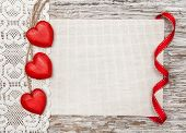 Wooden Hearts, Lacy Cloth And Canvas On Old Wood
