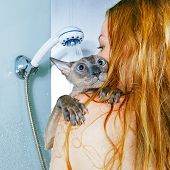 Girl and Cat in Shower