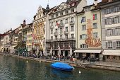 Waterfront Of Reuss River, Lucerne, Switzerland
