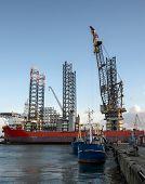 Panorama Of Esbjerg Oil Harbor, Denmark