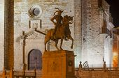 picture of conquistadors  - Equestrian statue of Francisco Pizarro in Trujillo at night - JPG