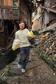 East Asia, Rural Teenager Boy 12 Years Old, Chinese Village.