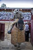 Picador bullfighter going out of the bullring on having finished its work in the spectacle in Baeza