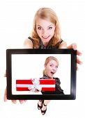 Businesswoman Showing Ipad Tablet Touchpad Photo Christmas Gift Box