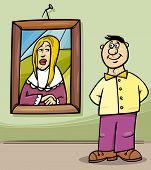 Man In Art Gallery Cartoon
