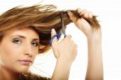 picture of split ends  - Damaged dry hair splitting ends - JPG