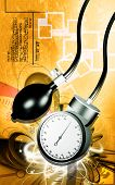 pic of sphygmomanometer  - Digital illustration of sphygmomanometer in colour background - JPG