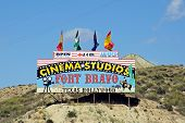 Fort Bravo sign, Almeria, Spain.