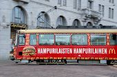 Moving Helsinki Tram With Big Mac Advertisement