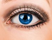 Beautiful Woman Blue Eye With Long Lashes