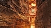 stock photo of ancient civilization  - View from Siq on entrance of City of Petra Jordan - JPG