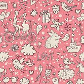 Romantic vintage seamless pattern in stylish pink colors. Cute cartoon illustration in vector. Rabbits, couple of lovers, presents, birds and others