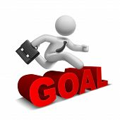 3D Businessman Jumping Over 'goal' Word