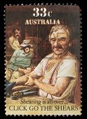 AUSTRALIA - CIRCA 1986: A stamp printed in Australia shows sheepshearing, Shearing is all over, circ