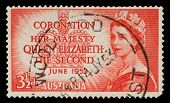 AUSTRALIA - CIRCA 1953: A stamp showing Portrait of Queen Elizabeth 2nd: circa 1953