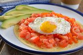 Huevos rancheros on the tortilla, the traditional Mexican breakfast dish