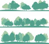 image of linden-tree  - set of different silhouettes of landscape with trees - JPG