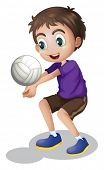 Illustration of a young boy playing volleyball on a white background