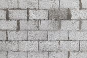 Gray Wall Made Of Aerated Concrete Blocks, Background Texture