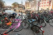 Amsterdam, Netherlands - March 19, 2014: Large Group Of Bicycles Stand On A Parking Place