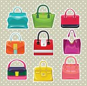 Multi-coloured Fashion Women's Handbag.polka Dot Background
