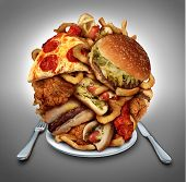 foto of grease  - Fast food diet concept served on a plate as a heap of greasy fried snacks - JPG