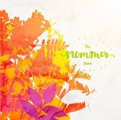 Floral Summer Background, Watercolor Texture