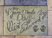 Clint Eastwoods Handprints In Hollywood Boulevard In The Concrete Of Chinese Theatre's Forecourt