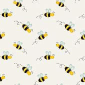 Background With Bees. Vector Illustration.