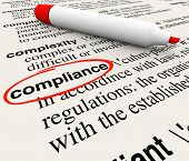 Compliance word circled dictionary definition meaning rules regulations laws