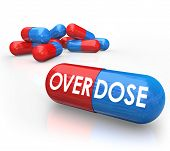 picture of overdose  - Overdose word on pills or capsules dangers drug addiction overmedication - JPG