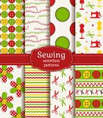 Sewing And Needlework Seamless Patterns. Vector Set.