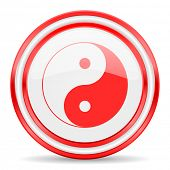 ying yang white glossy web icon