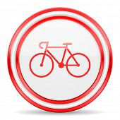 bicycle red white glossy web icon