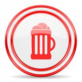 beer red white glossy web icon