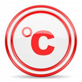 celsius red white glossy web icon