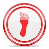 picture of webbed feet white  - foot red white glossy web icon - JPG