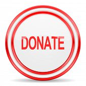 donate red white glossy web icon